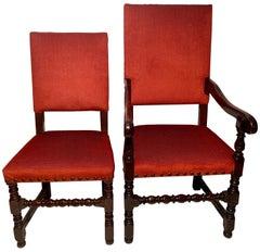 Set of 12 Antique English Oak Elizabethan Dining Chairs