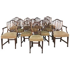 Set of 12 Antique English Sheraton Dining Chairs Includes Four Armchairs