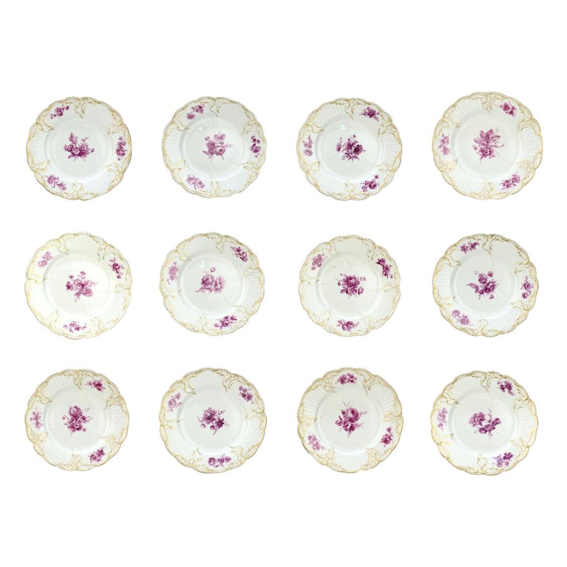 Set of 12 Antique KPM Royal Berlin Porcelain Reliefzierat Dinner Plates in Puce
