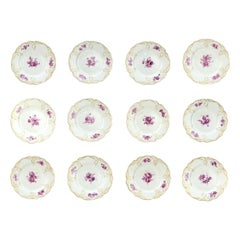 Set of 12 Antique KPM Royal Berlin Porcelain Reliefzierat Dinner Plates in Puce