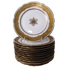 Set of 12 Antique Limoges France Dessert Plates Gilt Medallion Center Gold Band
