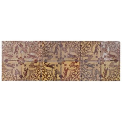 Set of 12 Antique Medieval Style Tiles