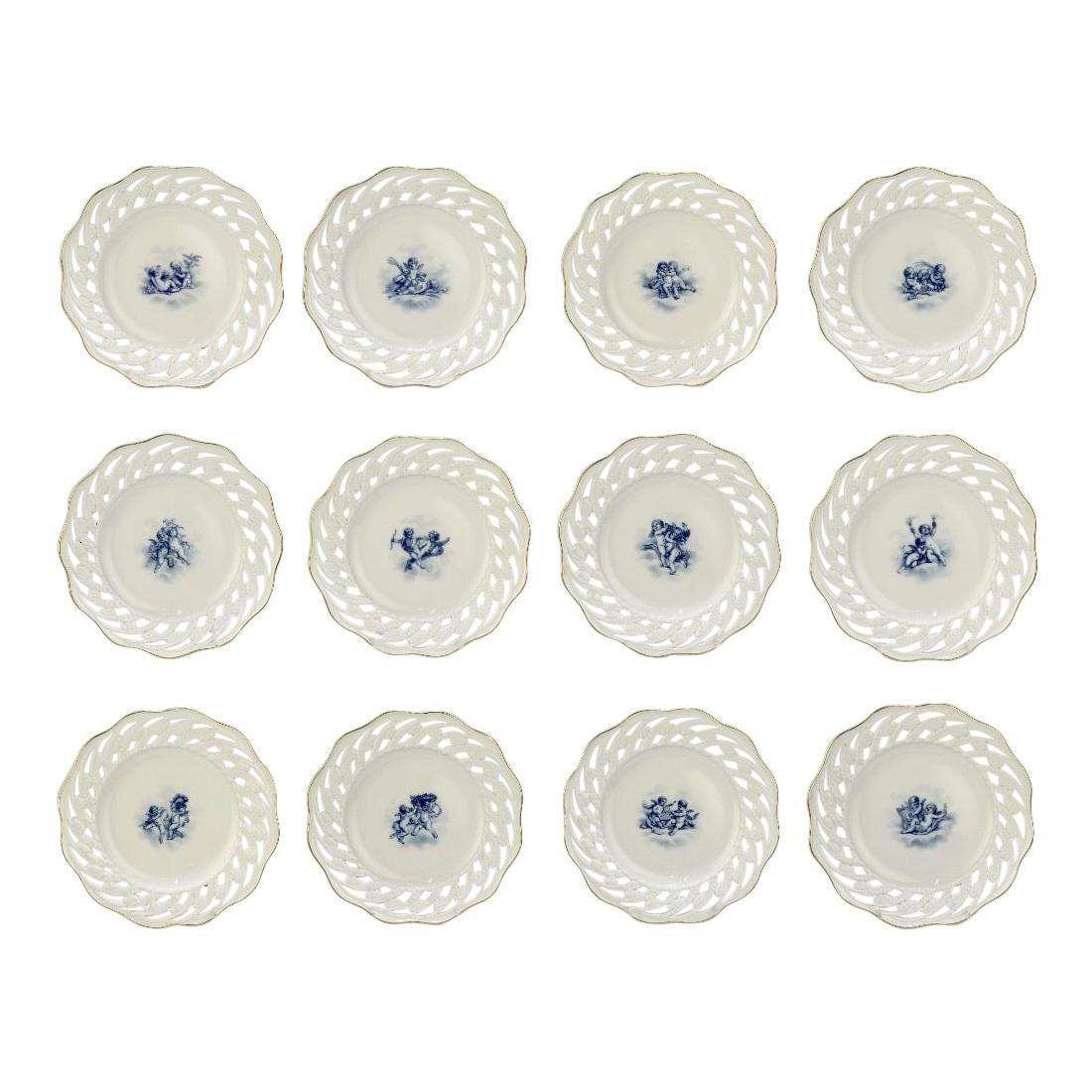 Set of 12 Antique Meissen Porcelain Reticulated Cabinet Plates with Cherubs