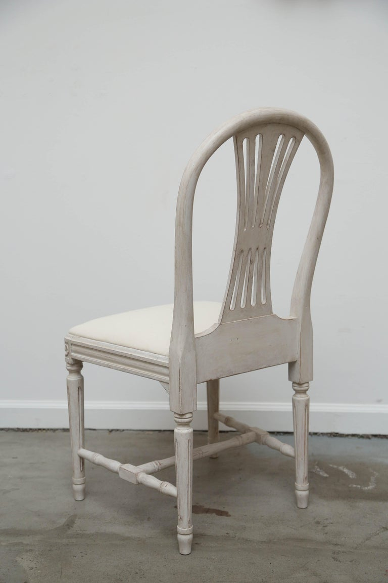 Set of 12 Antique Painted Gustavian Style Dining Chairs Early 20th Century For Sale 5