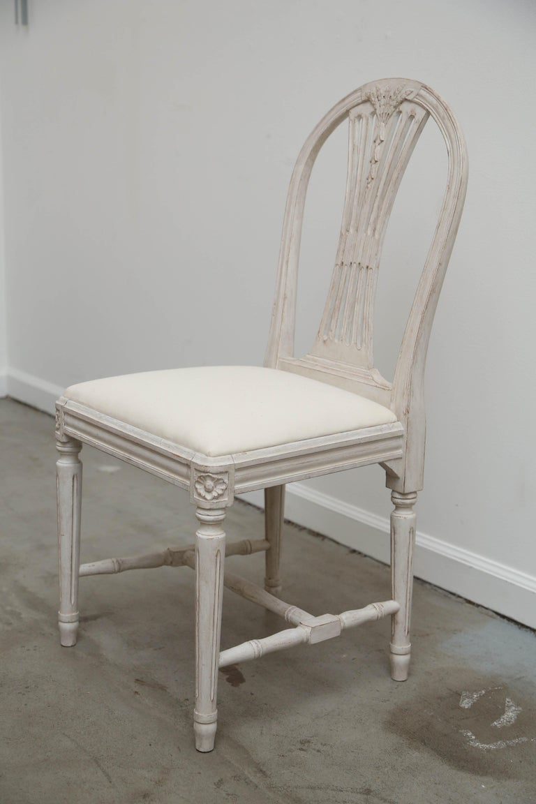 Wood Set of 12 Antique Painted Gustavian Style Dining Chairs Early 20th Century For Sale