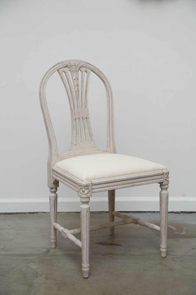Set of 12 Antique Painted Gustavian Style Dining Chairs Early 20th Century For Sale 3