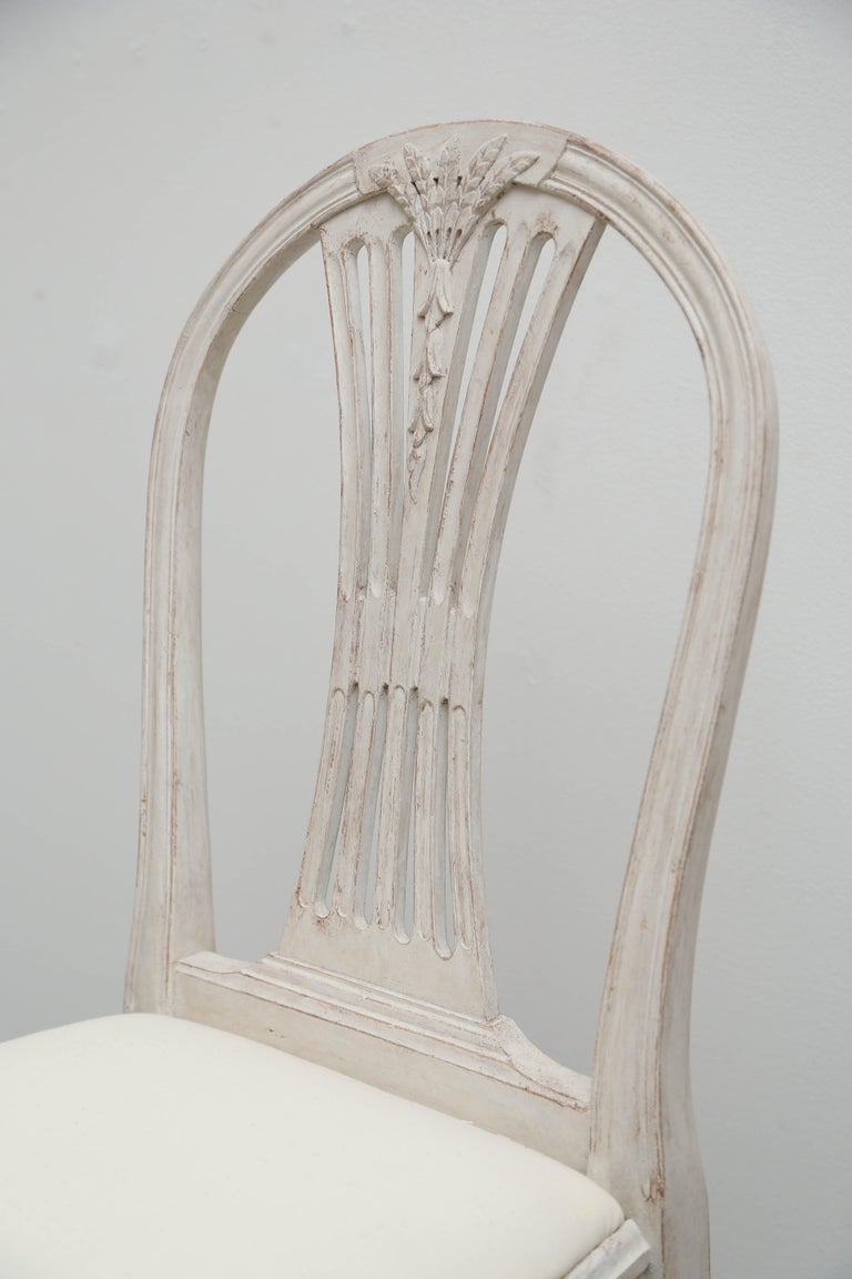 Set of 12 Antique Painted Gustavian Style Dining Chairs Early 20th Century For Sale 4
