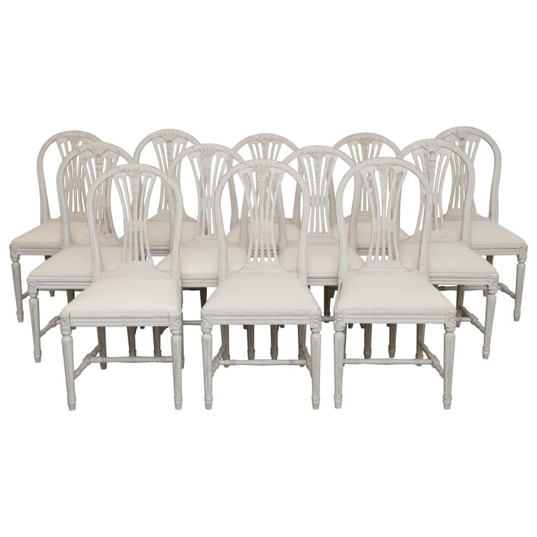 Set of 12 Antique Painted Gustavian Style Dining Chairs Early 20th Century For Sale