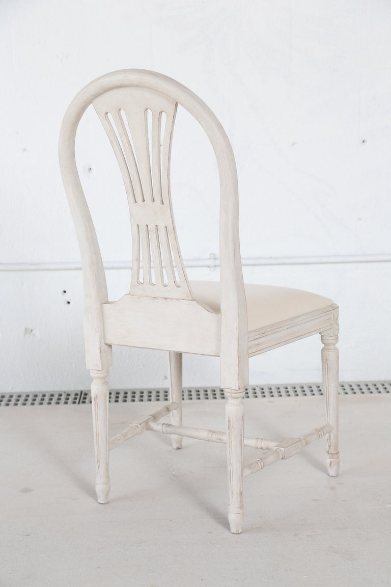 Set of 12 Antique Painted Gustavian Style Dining Chairs For Sale 4