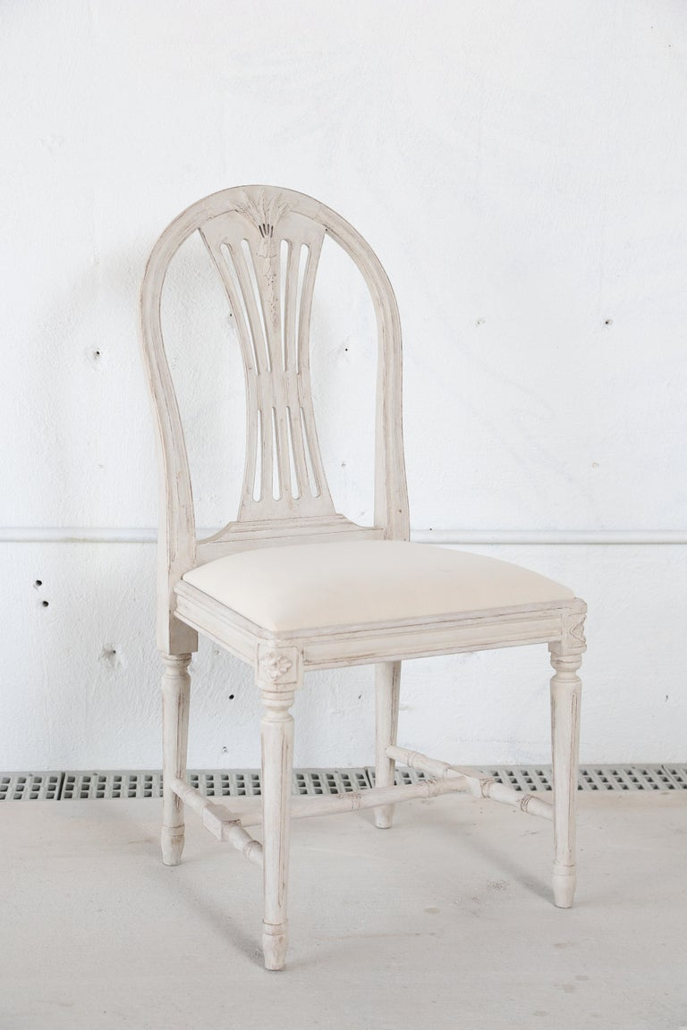 Set of 12 Antique Painted Gustavian Style Dining Chairs In Good Condition For Sale In West Palm Beach, FL