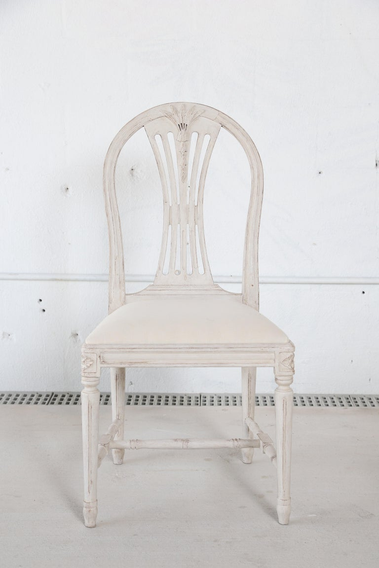 20th Century Set of 12 Antique Painted Gustavian Style Dining Chairs For Sale