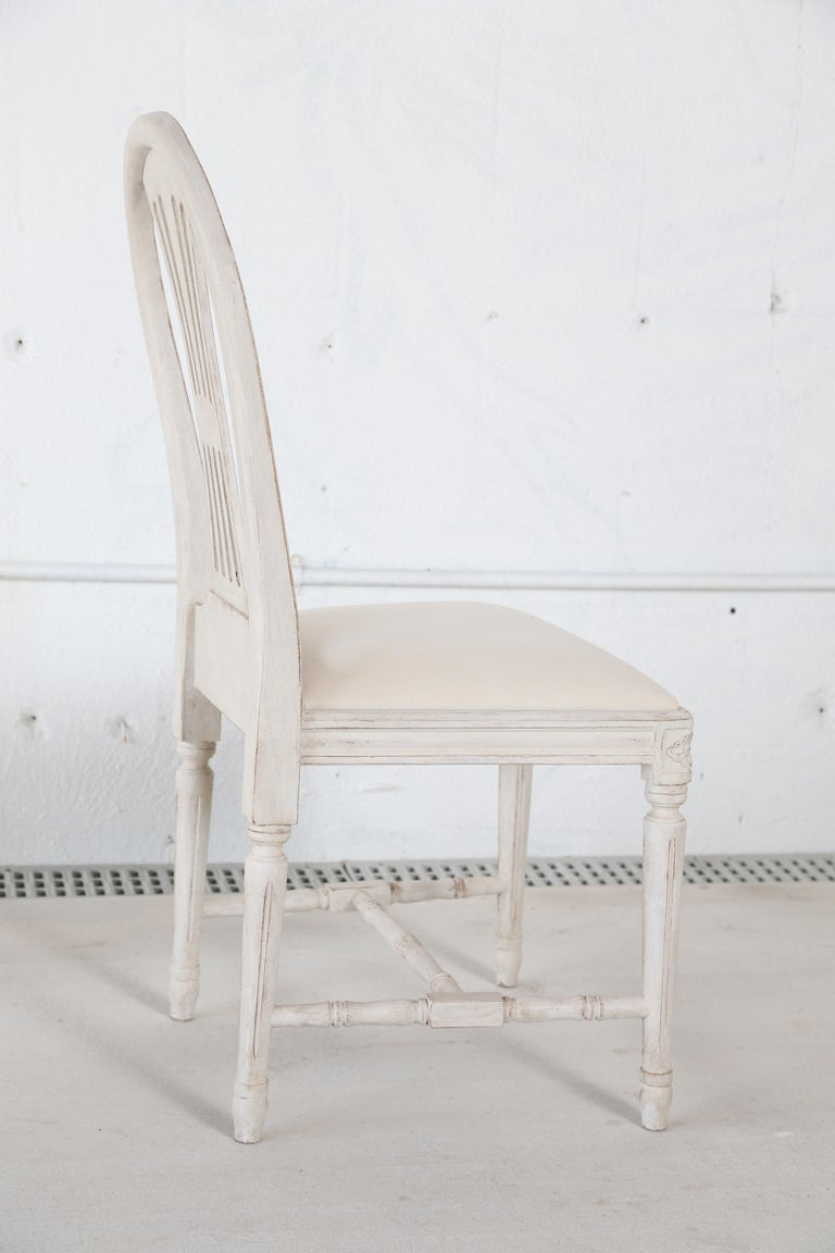 Set of 12 Antique Painted Gustavian Style Dining Chairs For Sale 3