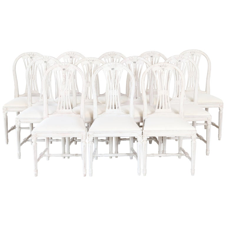 Set of 12 Antique Painted Gustavian Style Dining Chairs For Sale