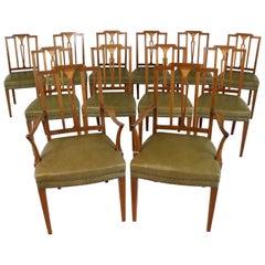 Set of 12 Antique Scottish Sheraton Revival Mahogany Inlaid Dining Chairs