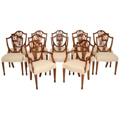 Set of 12 Antique Sheraton Style Shield Back Dining Chairs