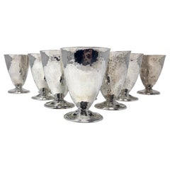 Set of 12 Antique Sterling Silver Hammered Cordial Glasses by Barbour Silver Co.