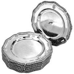 Set of 12 Antique Victorian Sterling Silver Dinner Plates 1863