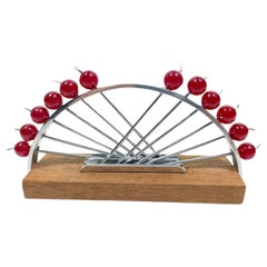 Set of 12 Art Deco Chrome and Lucite Cocktail Picks in an Chromed Arc Stand