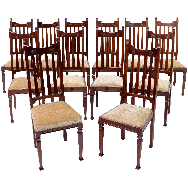 Set of 12 Arts & Crafts Walnut Dining Chairs