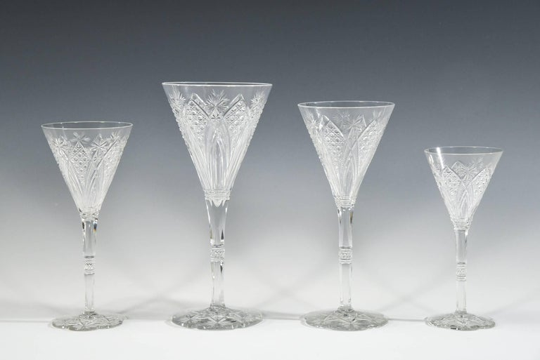 Set of 12 Baccarat Hand Blown Elbeuf Cut Crystal Martini Champagne Goblets For Sale 5