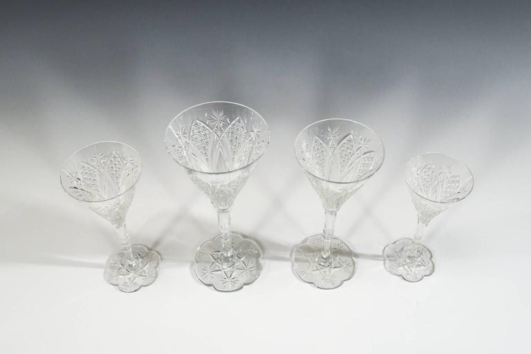 Set of 12 Baccarat Hand Blown Elbeuf Cut Crystal Martini Champagne Goblets For Sale 6