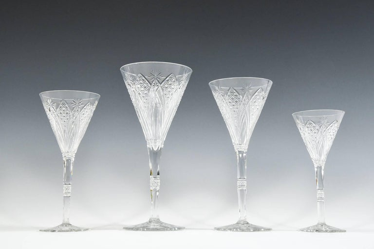 Set of 12 Baccarat Hand Blown Elbeuf Cut Crystal Martini Champagne Goblets For Sale 7