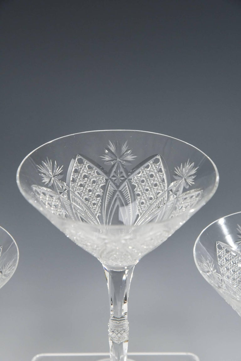 French Set of 12 Baccarat Hand Blown Elbeuf Cut Crystal Martini Champagne Goblets For Sale