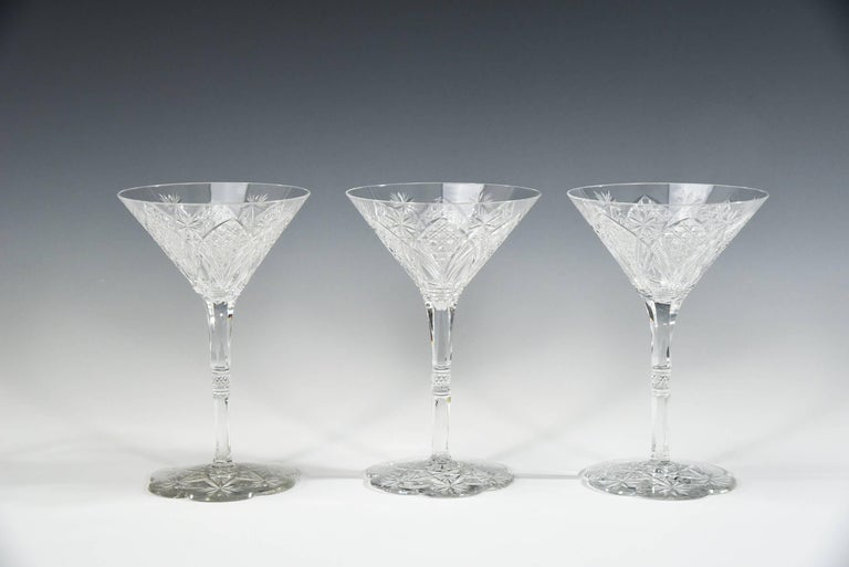 Set of 12 Baccarat Hand Blown Elbeuf Cut Crystal Martini Champagne Goblets For Sale 3