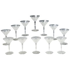 Set of 12 Baccarat Hand Blown Elbeuf Cut Crystal Martini Champagne Goblets