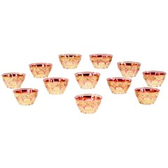 Set of 12 Baccarat/Moser Crystal Bowls with Hand-Painted Enamel Gilt Decoration