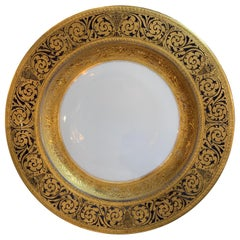Set of 12 Bavarian China Dinner Plates with Raised 24 Carat Gold