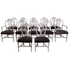 Set of 12 Beautiful Gustavian Chairs, Including Two Armchairs, Late 19th Century