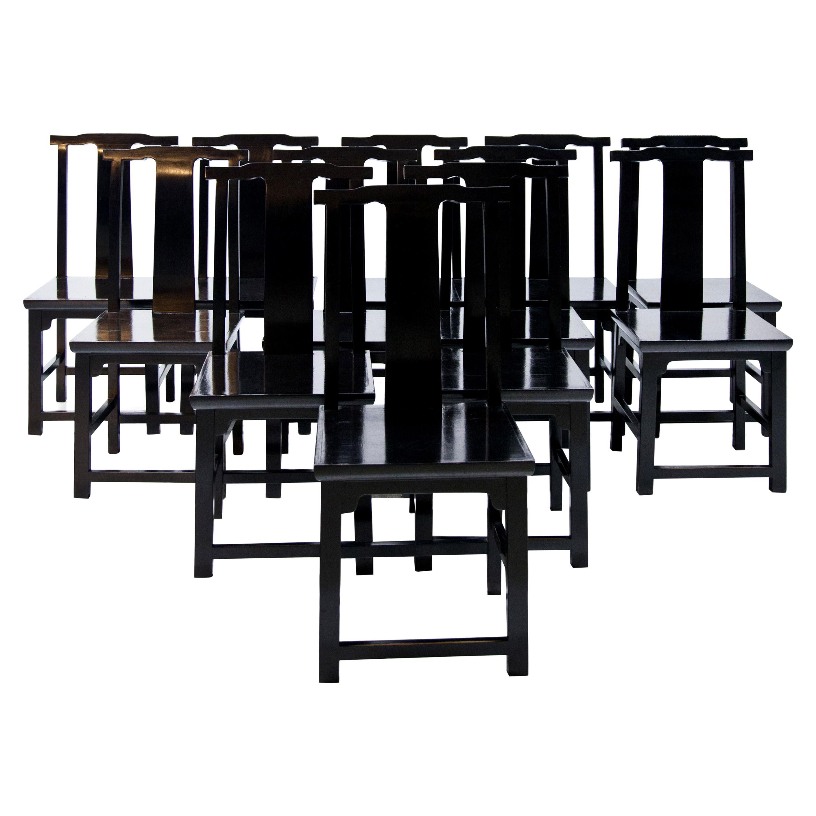 Set of 12 Black Lacquered Japanese-Style Dining Room Chairs, Italy, 20th Century