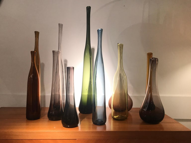 French Set of 12 Blown Bottles by Claude Morin For Sale