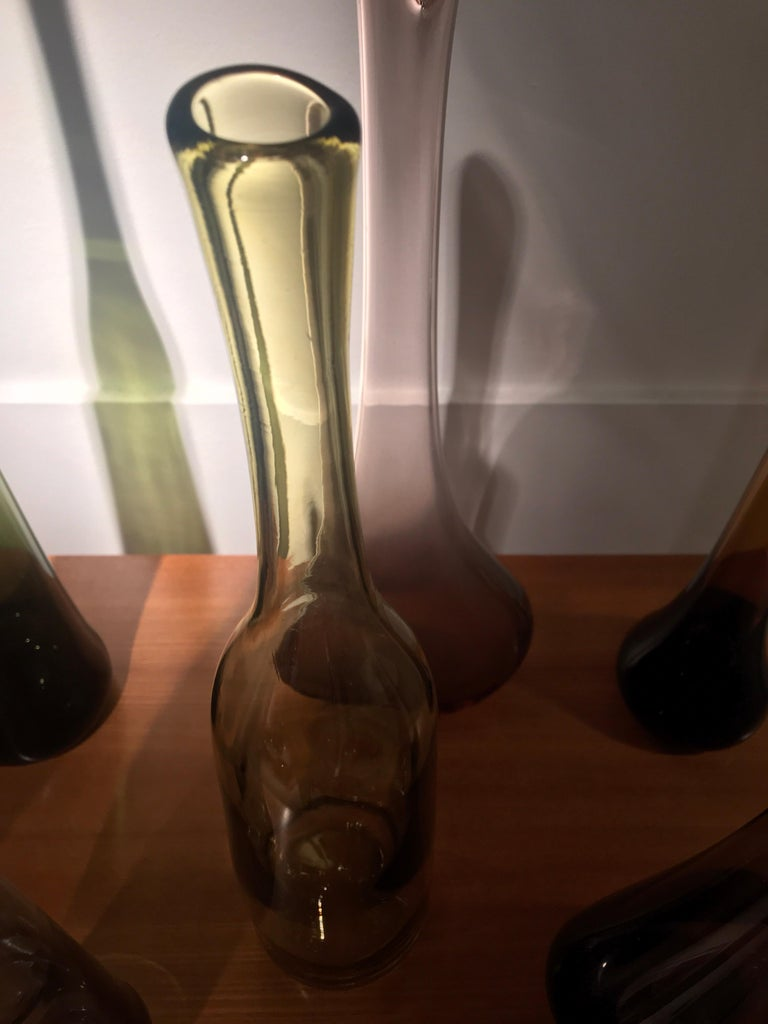 Late 20th Century Set of 12 Blown Bottles by Claude Morin For Sale