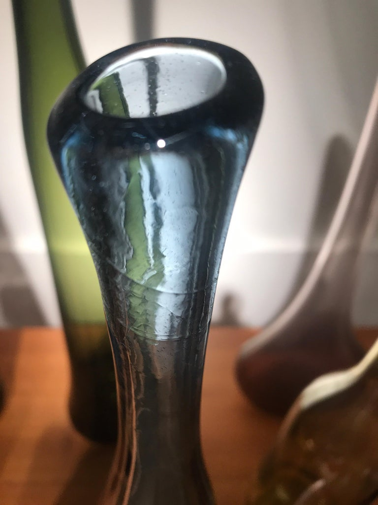 Blown Glass Set of 12 Blown Bottles by Claude Morin For Sale