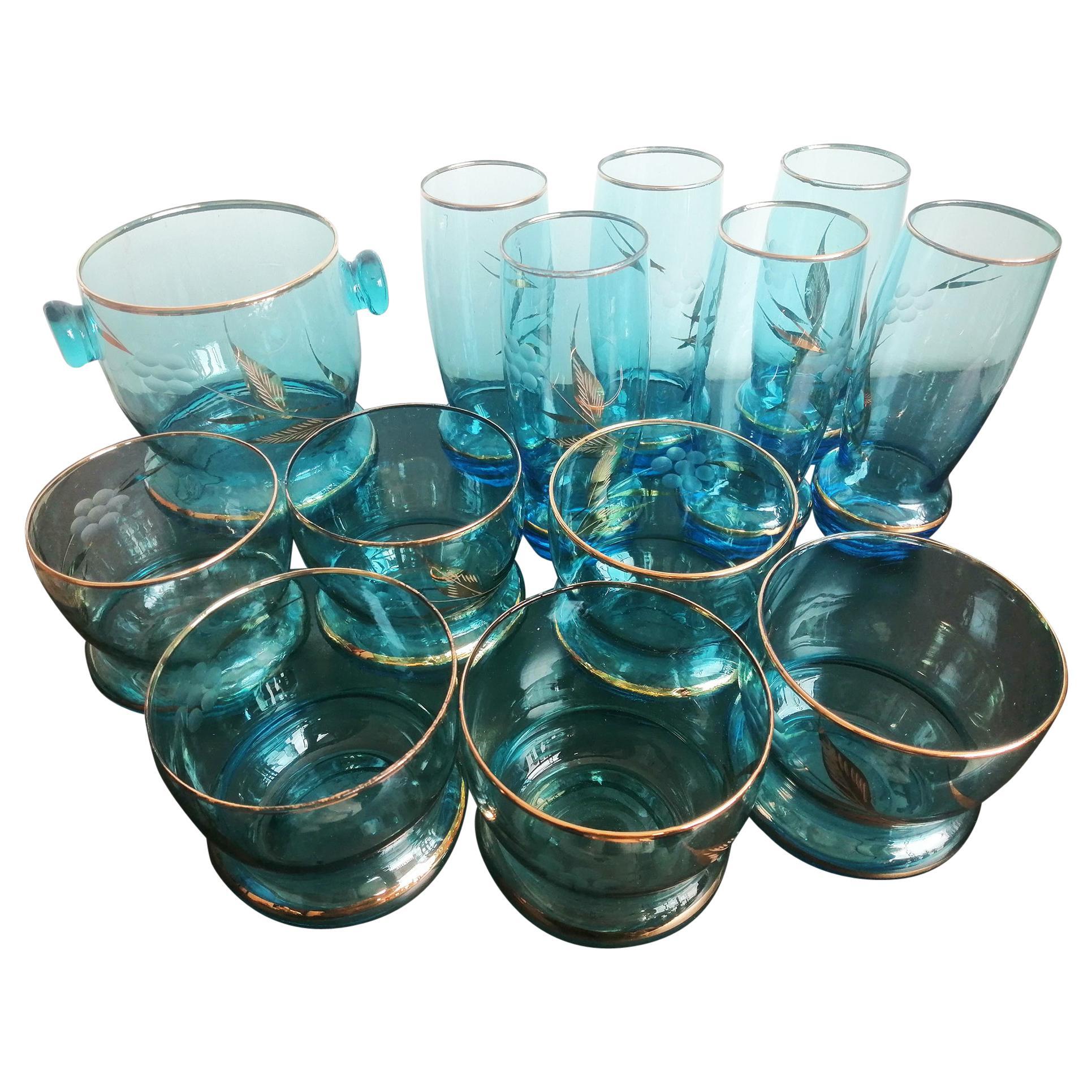 Set of 12 Bohemian Crystal Glasses and Glass Ice Bucket, Czechoslovakia, 1950s