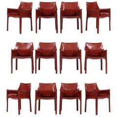 Set of 12 CAB Chairs by Mario Bellini
