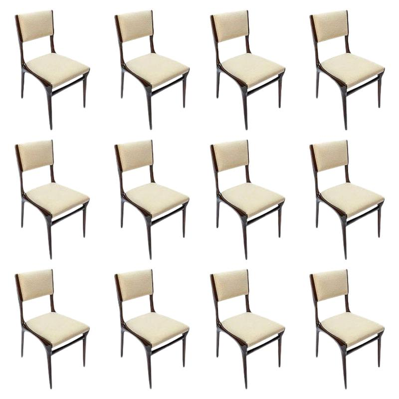 Set of 12 Carlo de Carli Brown Wood Dining Chairs in Ivory Linen, 1950s