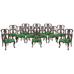 Set of 12 Carved Mahogany Dining Chairs in the Manner of Thomas Chippendale