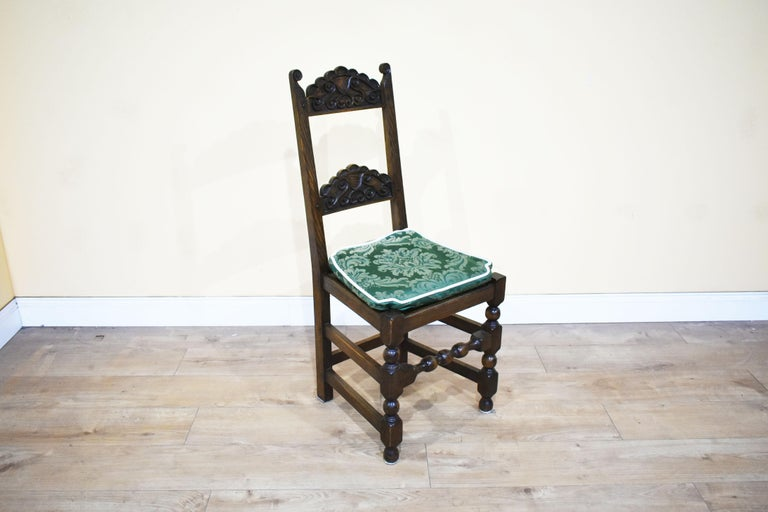 English Set of 12 Carved Oak Dining Chairs For Sale