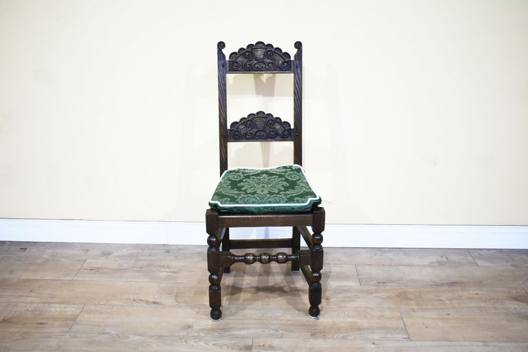 20th Century Set of 12 Carved Oak Dining Chairs For Sale