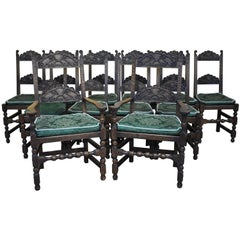 Set of 12 Carved Oak Dining Chairs
