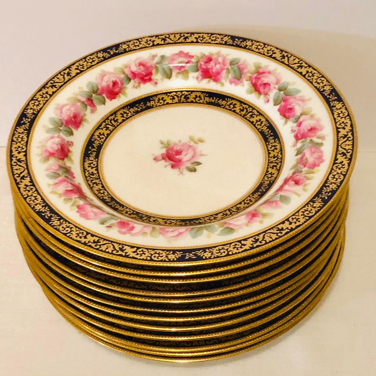 Romantic Set of 12 Cauldon Wide Rim Soups with Pink Rose Paintings and Two Cobalt Borders For Sale