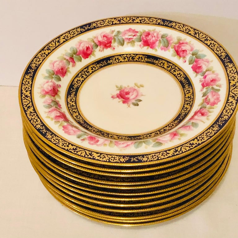 Hand-Painted Set of 12 Cauldon Wide Rim Soups with Pink Rose Paintings and Two Cobalt Borders For Sale