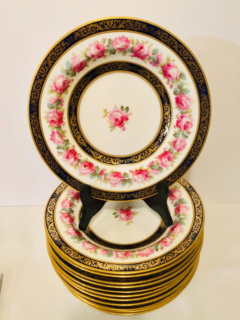 Set of 12 Cauldon Wide Rim Soups with Pink Rose Paintings and Two Cobalt Borders In Good Condition For Sale In Boston, MA