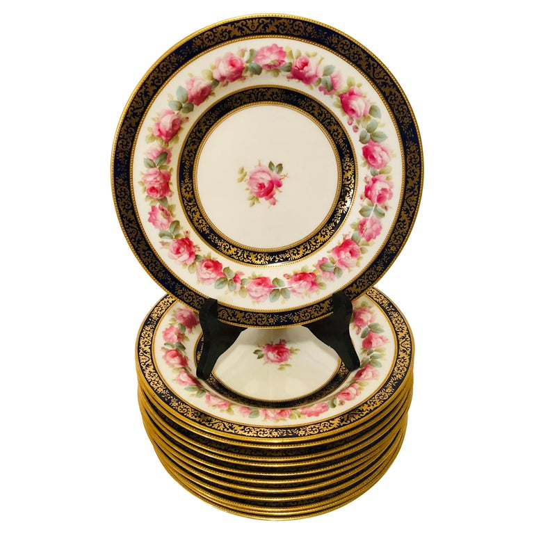 Set of 12 Cauldon Wide Rim Soups with Pink Rose Paintings and Two Cobalt Borders For Sale