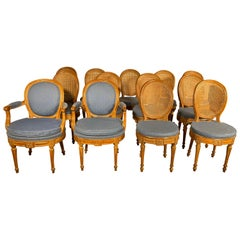 Set of 12 Chairs and Two Armchairs Louis XVI, 18th Century