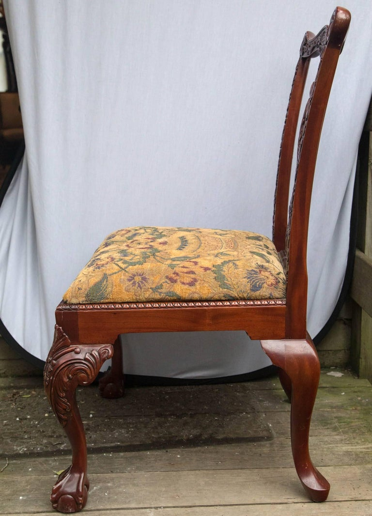 Set of 12 Chippendale Style Dining Chairs In Excellent Condition For Sale In Woodbury, CT