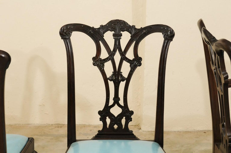 Set of 12 Chippendale Style Mahogany Dining Chairs, England, circa 1890 For Sale 3